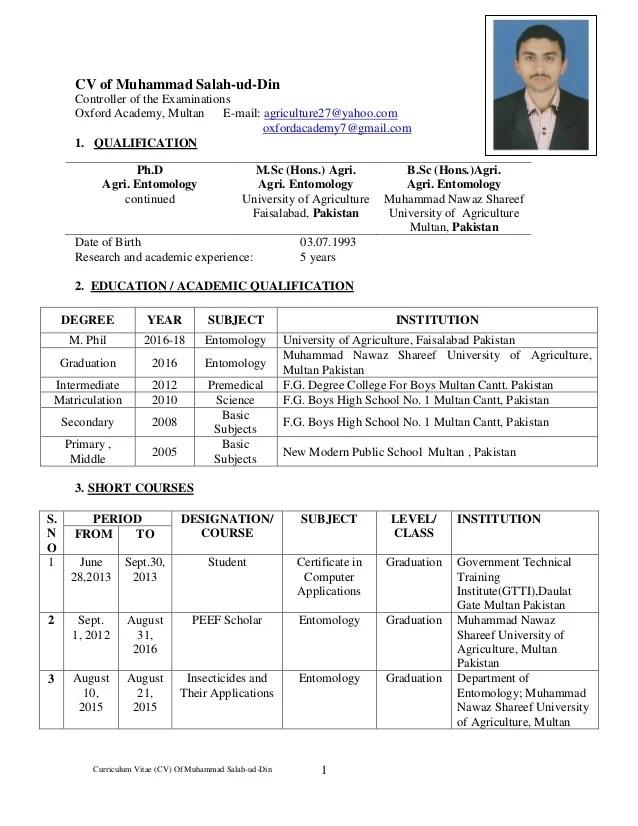 Cv of controller of examination mrm salah uddin 2016