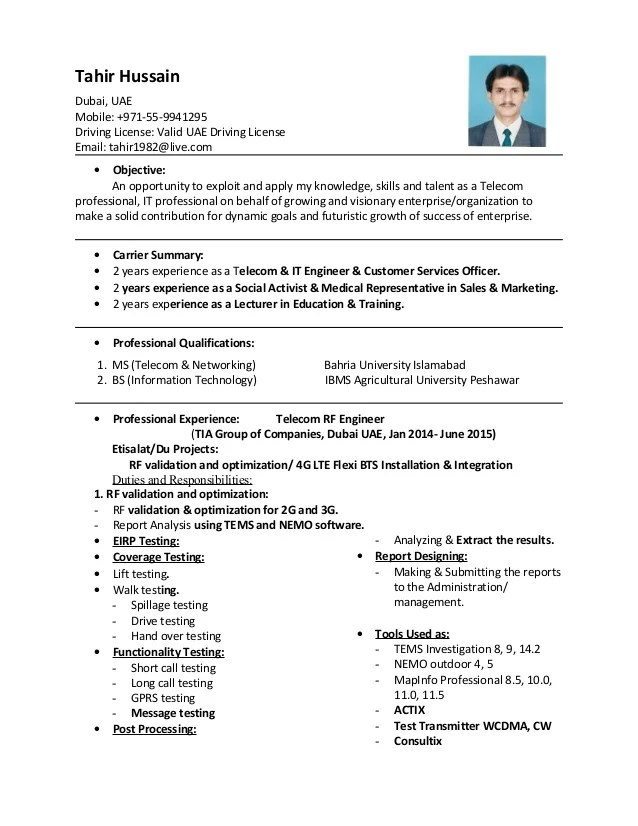 Cv Of Tahir Hussain With Master Degree & Experience