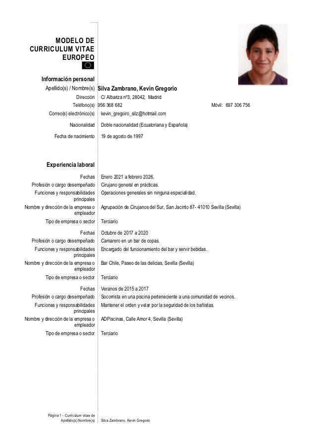 Curriculum Vitae Ejemplos De Estudiantes Sin Experiencia