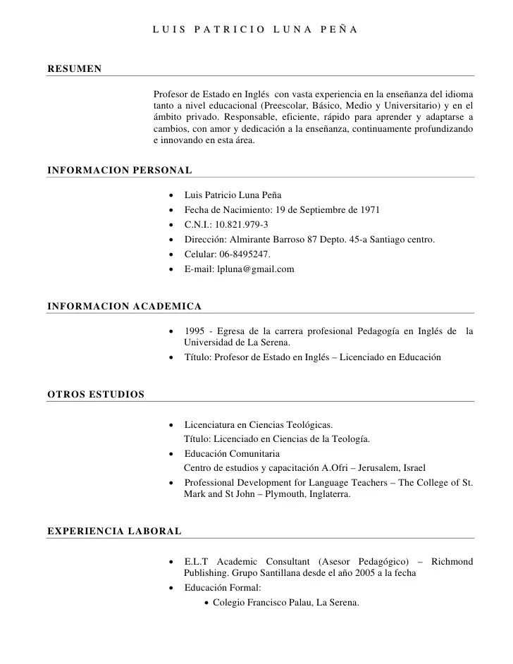 Descargar Formato De Curriculum Vitae Moderno En Word Sample