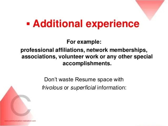 additional information cv
