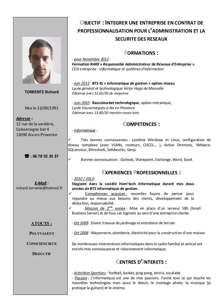 cv en francais technicien informatique