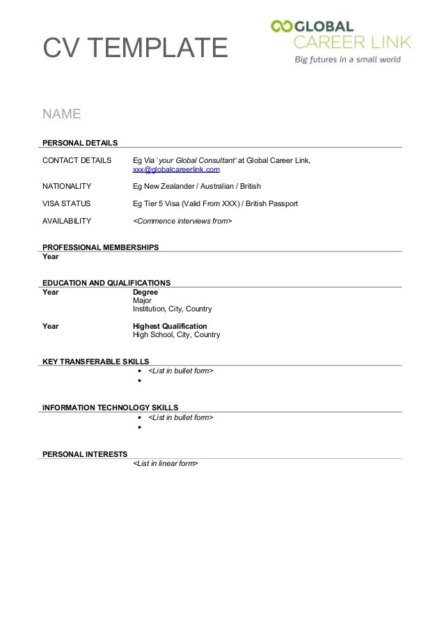 cv template for teenager