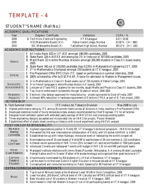 sample resume iit student