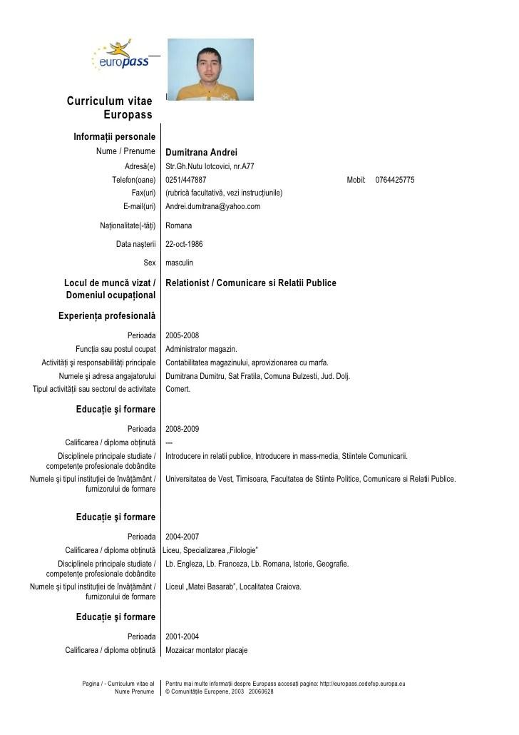 curriculum vitae exemplu romana completat