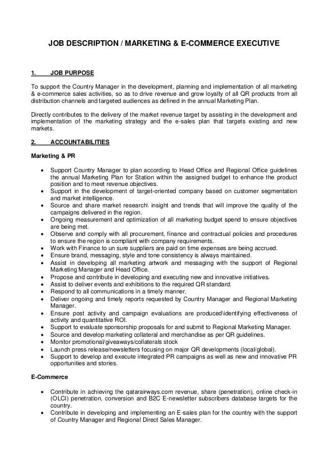 Job Description Marketing And E Commerce Executive