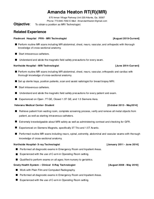 business and community an radiologic technologist resume