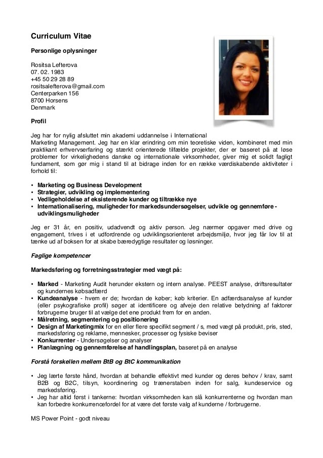 Danish CV Rositsa Lefterova