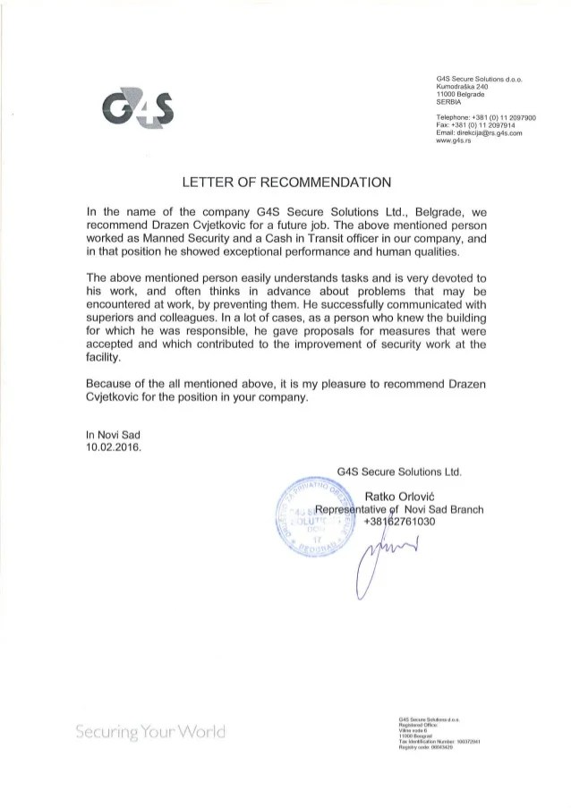 letter of recommendation for employment samples