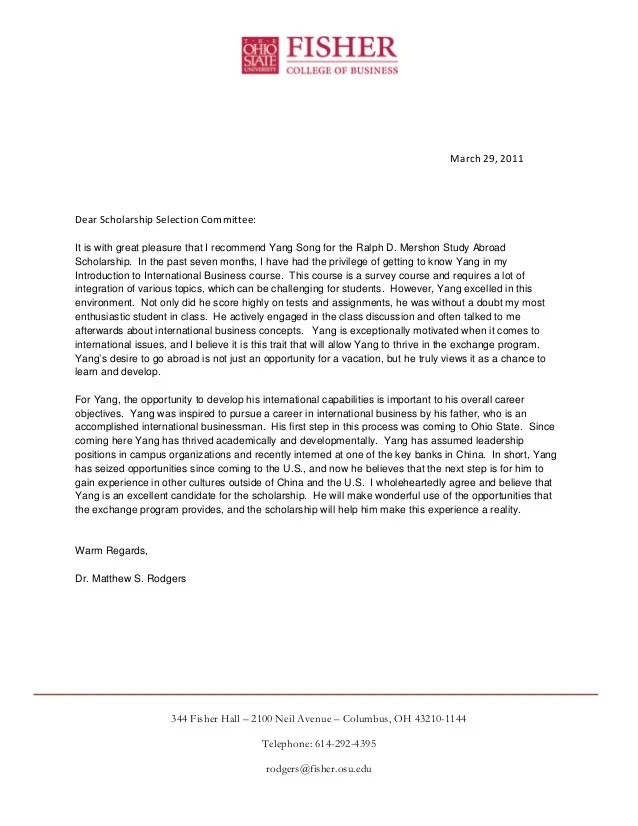 letter recommendation study abroad