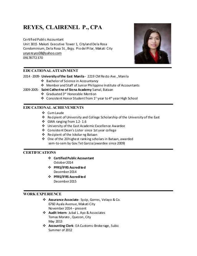 Clairenel P Reyes CPA Resume