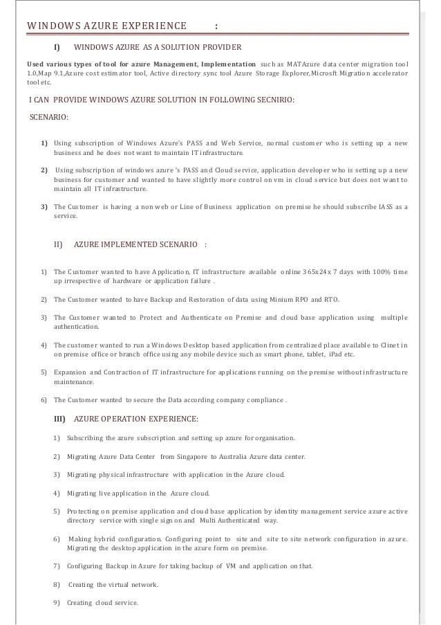 azure iaas sample resume