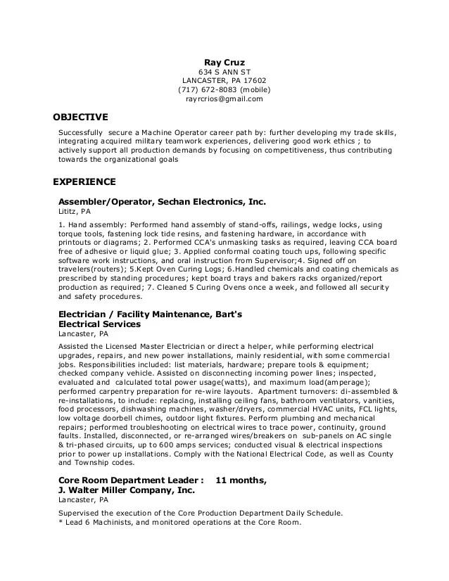 resume objective examples machine operator