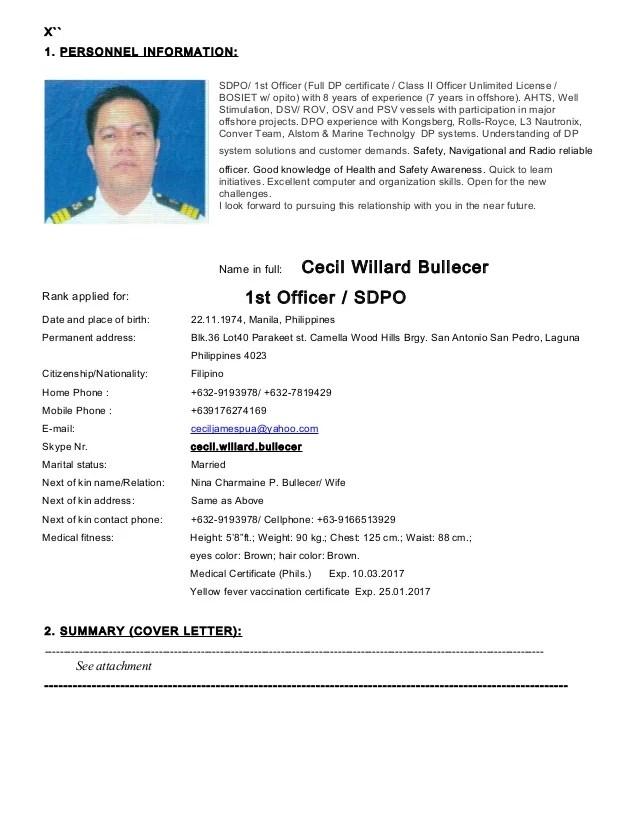 Seafarer Resume Sample Resume Ideas