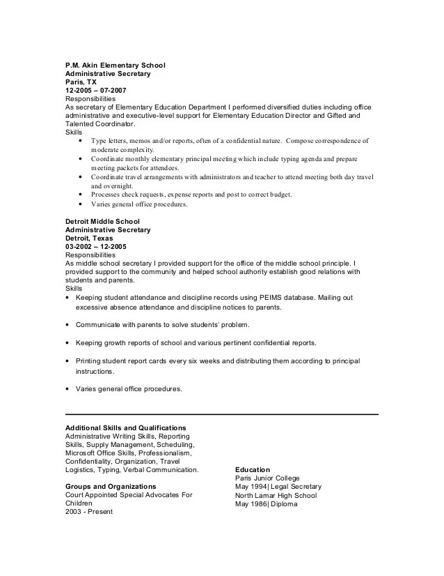Skills For Secretary Resume