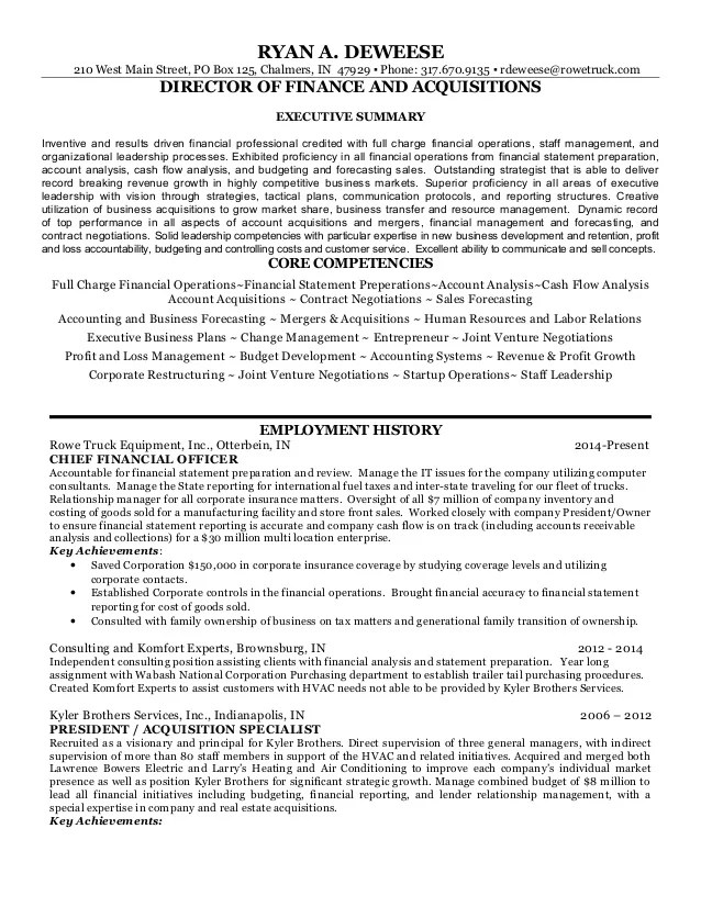 CFO Real Estate Construction Resume