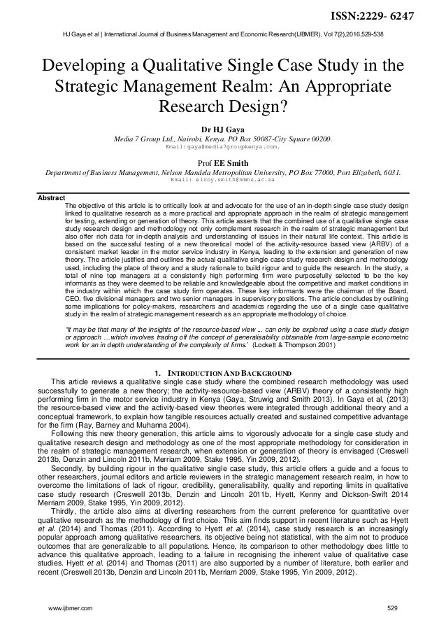 DEVELOPING A QUALITATIVE SINGLE CASE STUDY IN THE REALM AN