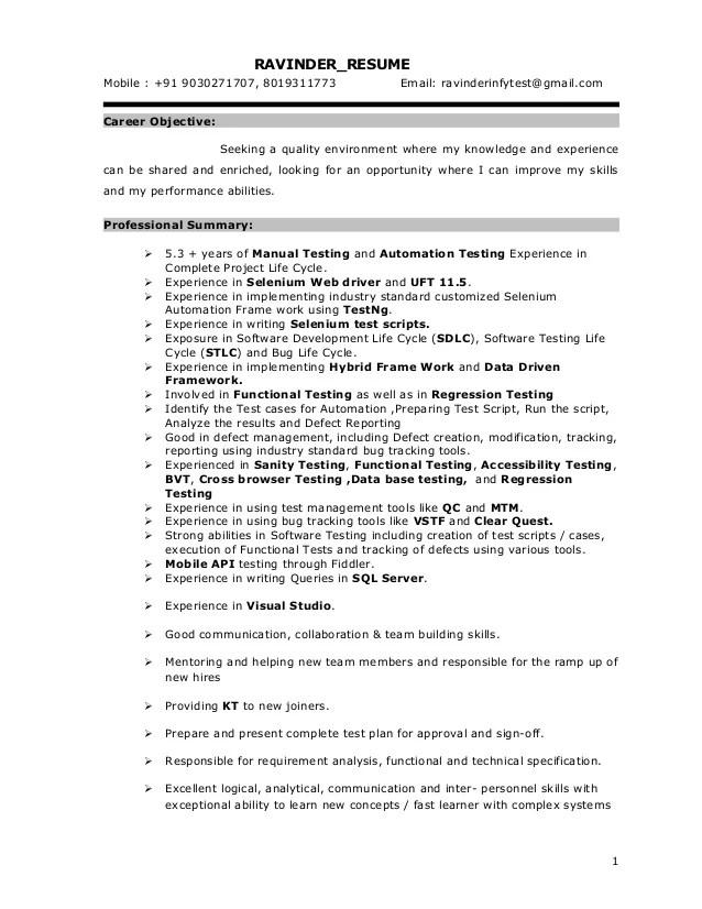 sample resume for 2 years experience in selenium
