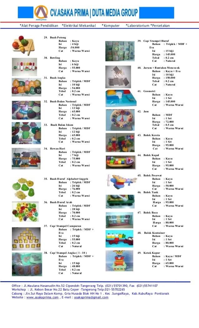 Daftar harga mainan edukatif paud tk ape paud tk