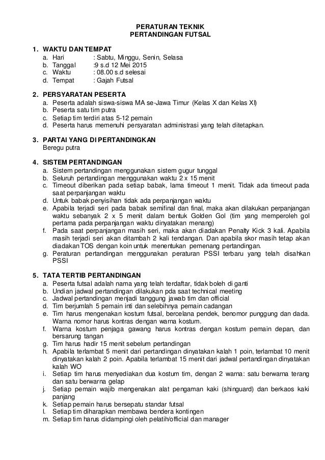 Peraturan Futsal Singkat : peraturan, futsal, singkat, Daftar, Petunjuk, Teknis, Revisi