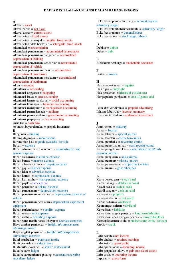 Daftar Istilah Akuntansi Dalam Bahasa Inggris Cute766