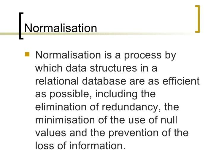 Databases Normalisation