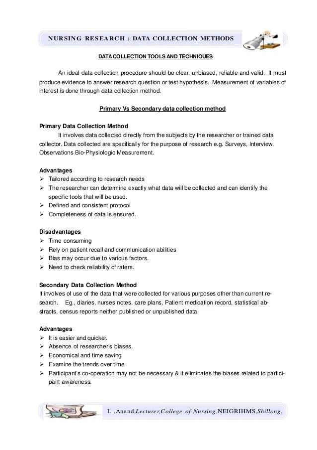 Data Collection Methods Nursing Research