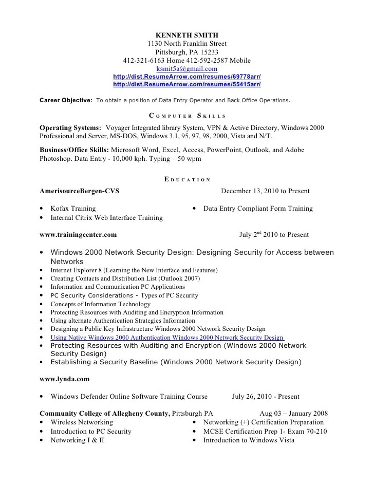 Data Entry Representative Resume May 26 2012