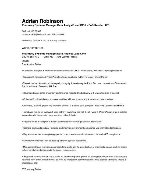 Data Entry Resume Information Technology Pharmacy