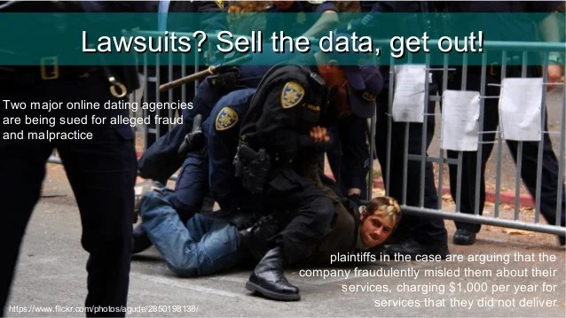 Lawsuits, sell the data and get out!