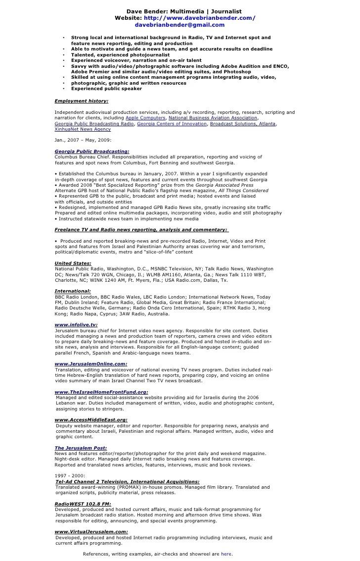 Dave Bender Multimedia  Journalist CV