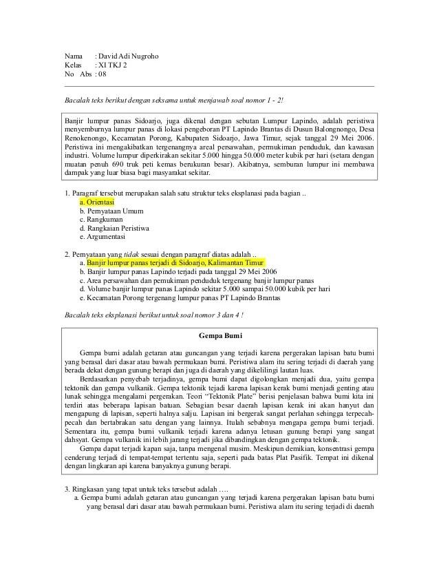 Soal kelas 8 teks eksplanasi - Quiz - Quizizz