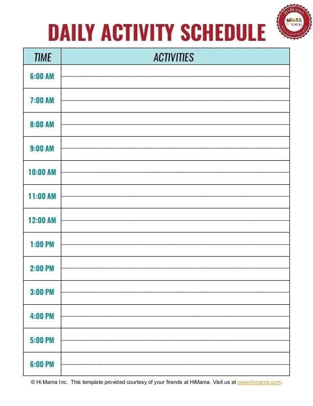 Daycare  Preschool Daily Schedule