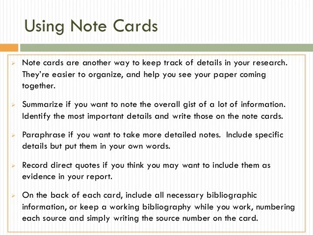 Research Papers Gathering Grid & Note Cards