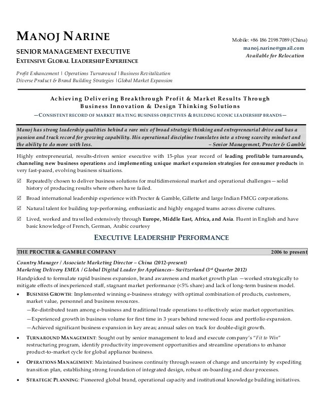 brand executive resume sample
