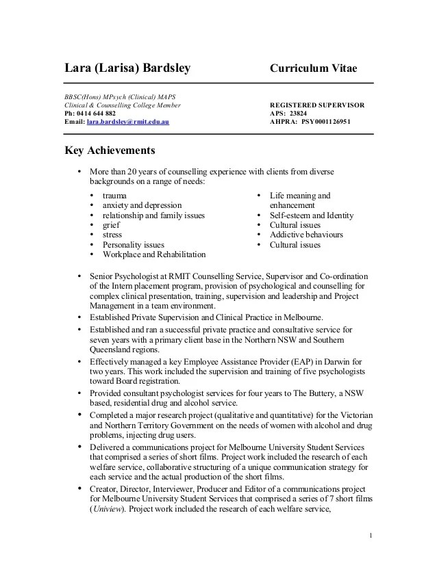 counselling cv