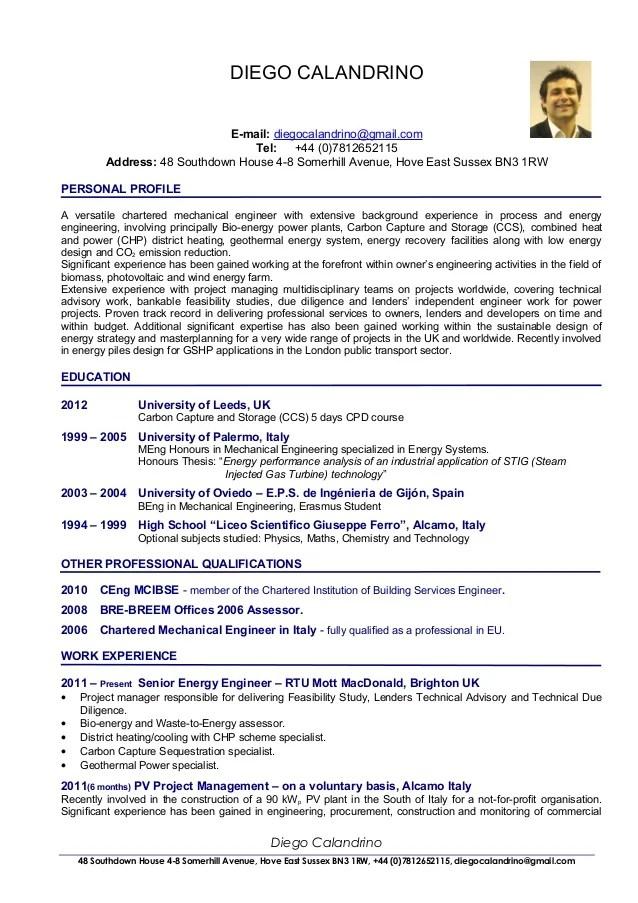 CV Of Diego Calandrino Renewable Energy Consultant