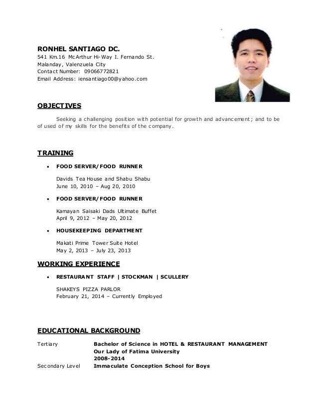 soft copy sample resume