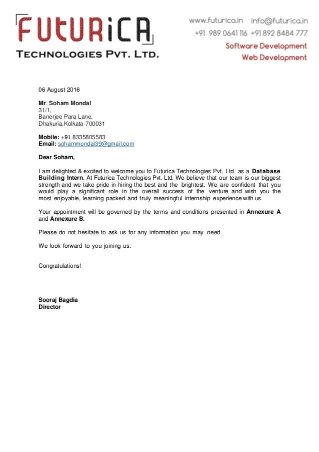 Soham Mondal Intern Offer Letter