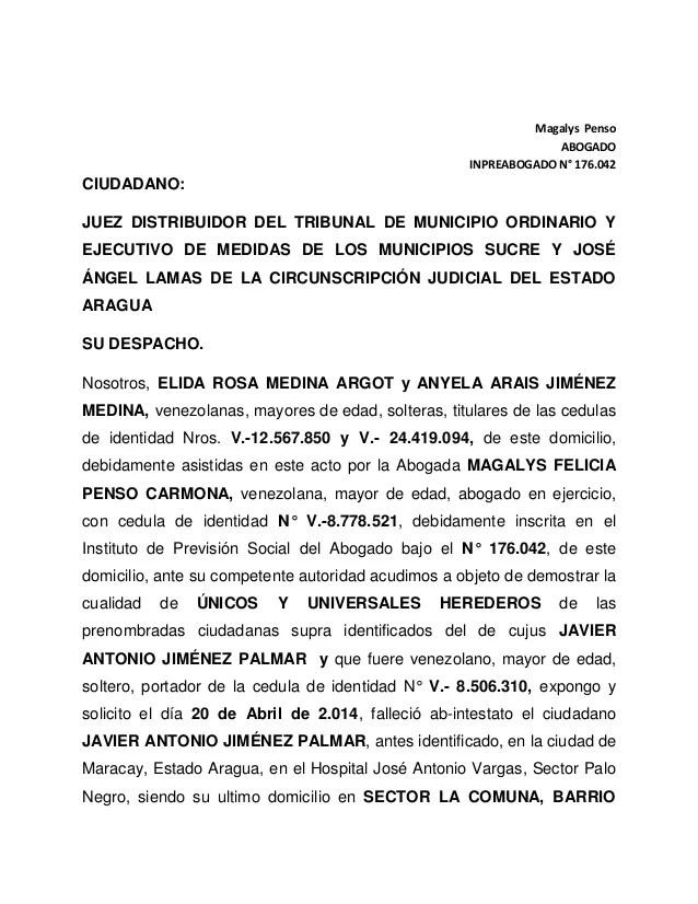 Declaracion De Herederos Universales Anyela