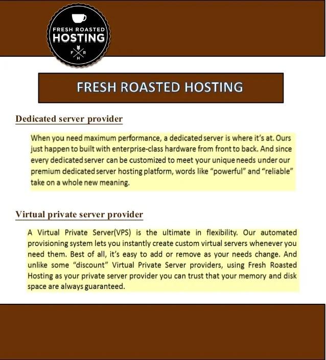 Dedicated Server Provider  Fresh Roasted Hosting