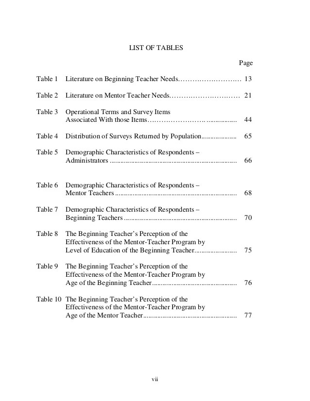 Table Of Contents Example For Term Paper Essay For You