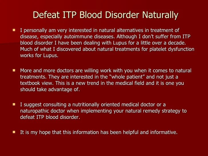 Defeat ITP Blood Disorder Naturally
