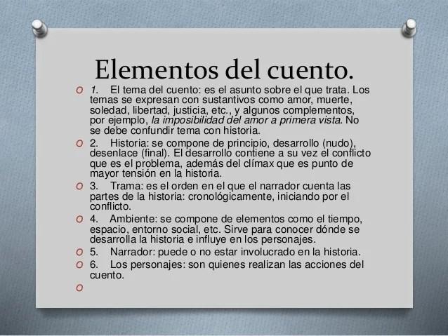 Definicin caractersticas y elementos de un cuento