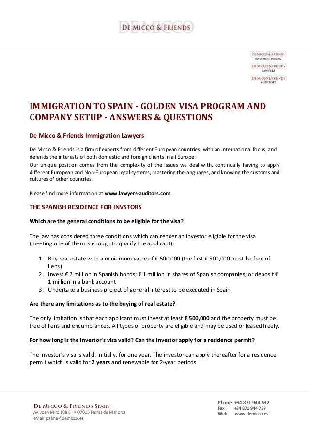 New Regulations 2015 Immigration To Spain Golden Visa