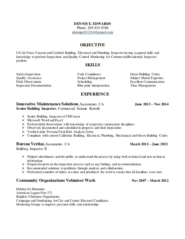 Resume For Building Inspection Position In Tracy California