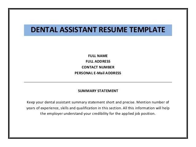 dental resume template dental assistant resume dental assistant - Resumes For Dental Assistants