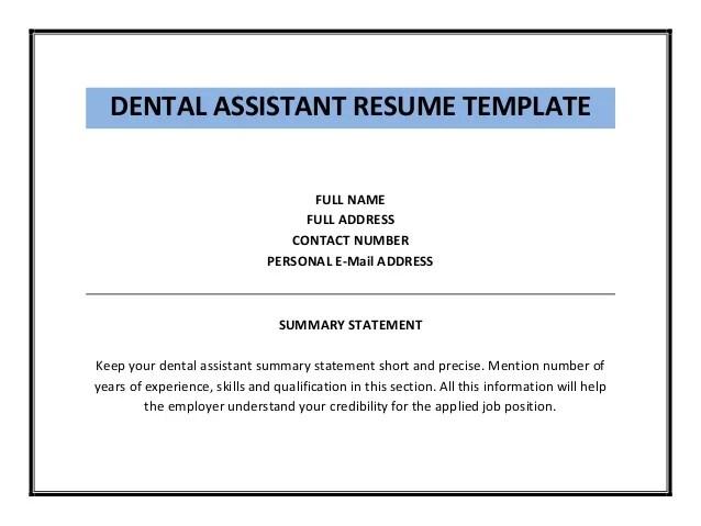 Dental Resume Template Dental Assistant Resume Dental Assistant  Resumes For Dental Assistants