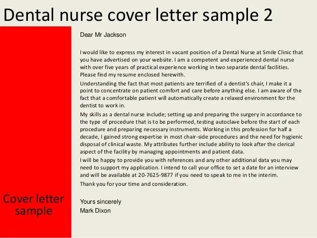 Dental nurse cover letter