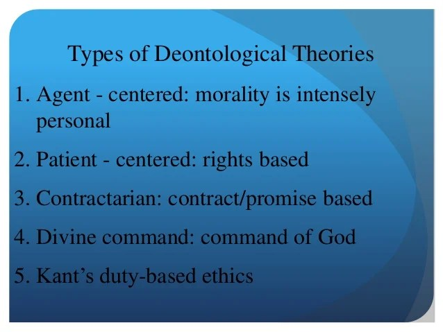 Deontological Ethics By Christine Wandolo